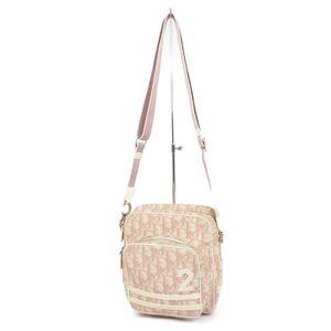 Christian Dior Trotter PVC Patent Leather Shoulder Bag D Bracket Pink / Off White Ladies