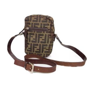 Fendi FENDI Zucca Canvas Shoulder Pouch Bag Made in Italy Ladies Brown Bags Vintage