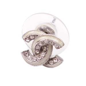 Chanel CHANEL 12A Light Stone Coco Mark Earrings Accessories Silver One Only