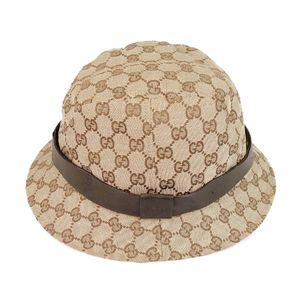 Gucci GUCCI GG canvas hat bucket made in Italy Ladies L beige / brown