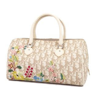 Christian Dior Trotter Flower Embroidery Handbag Mini Boston Bag Beige Ladies Made in Italy