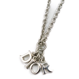 Christian Dior Womens Logo Necklace Silver Accessory Pendant