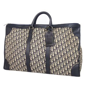Christian Dior Trotter Canvas Leather Boston Bag Travel Navy / Beige Made in France Vintage