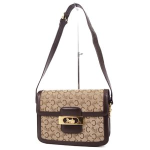 Celine CELINE Sulky C Macadam Pattern Carriage bracket Shoulder bag Beige / Brown Gold Women's Vintage made in Italy