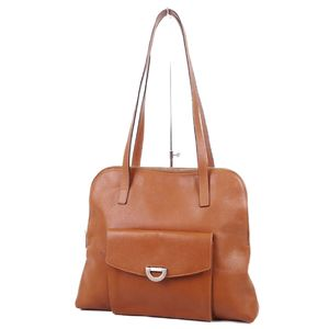 Celine CELINE Italian Leather Semi-Shoulder Tote Bag Light Brown (Red Lining) Women's Vintage