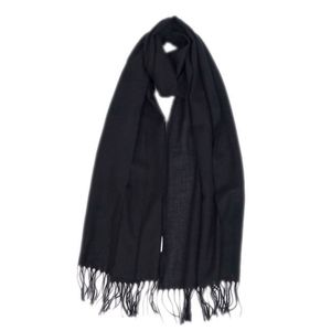 HERMES Made in Italy 100% Cashmere Stole Scarf Men's Women's Unisex Black With Fringe