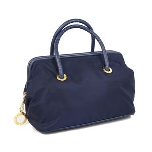 Celine CELINE Circle Logo Nylon Leather Handbag Boston Bag Navy / Gold Women's Vintage