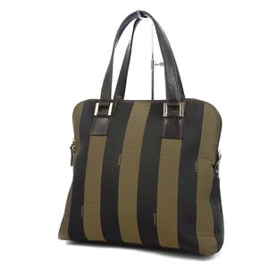 Fendi FENDI Italian Ladies Pecan Striped Handbag Nylon Leather Khaki Black Bag バ ッ グ