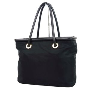Celine CELINE Made in Italy Ladies Circle Logo Handbag Nylon Leather Bag 鞄 Black Women's リ ー