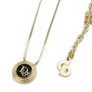 Christian Dior Womens Logo Necklace Gold Accessory Pendant