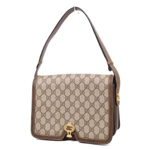7da80ba9d218 Old Gucci GUCCI 60-70s GG Patterned Gold Bracket Semi Shoulder Bag Brown  Ladies Vintage