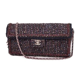 CHANEL Tweed chocolate bar chain coco mark turn lock shoulder bag ladies' made in France clutch Bordeaux / navy silver