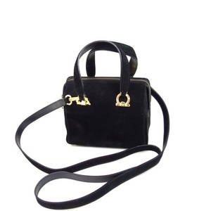 Salvatore Ferragamo Gancini 2way Shoulder bag Mini Boston Black / Gold Women's Made in Italy