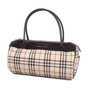 Burberry BURBERRY Women's Check Handbag Canvas Leather Bag Agate Beige