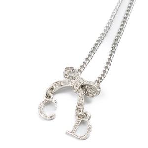 Christian Dior Ladies Rhinestone Ribbon CD Logo Necklace Silver Accessory Pendant
