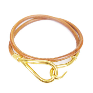 HERMES jumbo choker 2 bracelets leather unisex accessories brown / gold