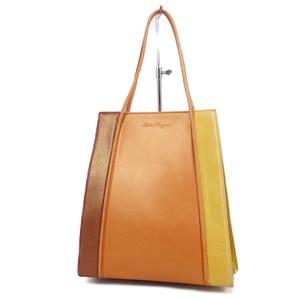 Salvatore Ferragamo Italian Ladies Handbags Leather Orange Brown Bags 鞄