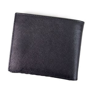 Prada PRADA Two-folded wallet Men's Saffiano leather Dark navy