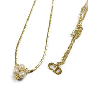 Christian Dior Ladies Pearl Rhinestone Necklace Gold Accessory Pendant Vintage