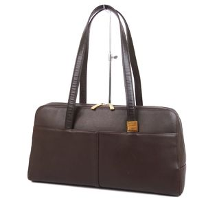 Burberry BURBERRY Women's back check semi-shoulder handbag leather bag 鞄 brown women's