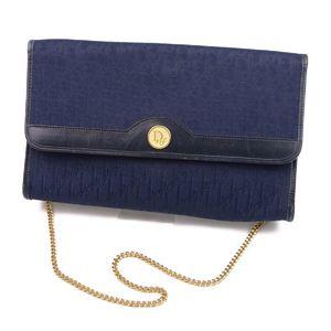 Christian Dior Chain Shoulder Bag Handbag France Made Canvas Navy / Gold Vintage