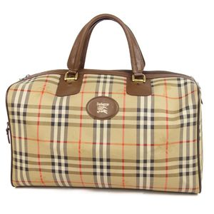 Burberry Burberrys Horse Ferry Check Boston Bag Travel Canvas Leather Beige / Brown Ladies Vintage