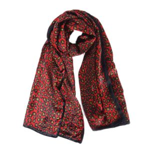 Fendi FENDI leopard print velor stole scarf women's Italian red / black stall
