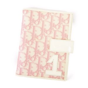 Christian Dior Trotter Notebook cover Ladies PVC Enamel Spanish Pink / White Vintage Patent Leather