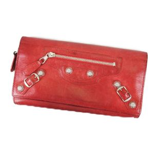 Balenciaga BALENCIAGA Giant Continental Leather Folded Purse Made in Italy Ladies Red Long Wallet