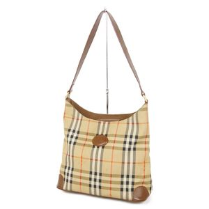 Burberry Burberrys Horse Ferry Check Semi Shoulder Bag Canvas Leather Beige / Brown Ladies Vintage