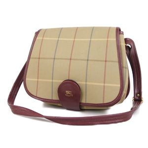 Burberry Burberrys British Ladies Check Shoulder Bag Canvas Leather Beige 鞄