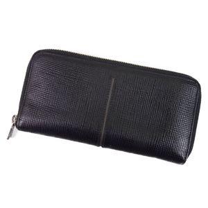 Tod's TOD'S round zipper leather long wallet men's Italian black / grey