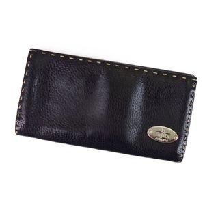 Fendi FENDI Celeria selleria Leather W Hook Long Wallet Ladies Men Black