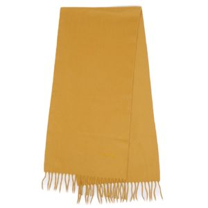 Chanel CHANEL Made in Italy 100% cashmere scarf with fringe Logo embroidered mustard yellow women
