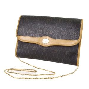 Christian Dior Chain Shoulder Bag Clutch Made in France Ladies Dark Brown / Camel Vintage