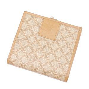 Celine CELINE Macadam Folded Purse Gamagu Women's Italian Beige Wallet Vintage