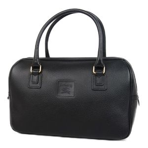 Burberry Burberrys Leather Handbag Boston Bag Back Horse Ferry Check Black Ladies Vintage