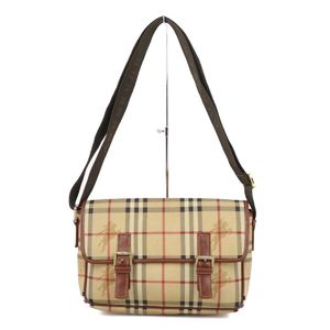Burberry London BURBERRY LONDON Horse Ferry Check PVC Leather Shoulder Bag Beige / Brown Ladies Mens Unisex Bags