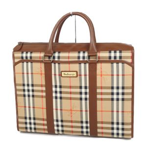 Burberry Burberrys Horse Ferry Check Business Bag Briefcase Beige / Brown Men's Ladies Unisex Tote
