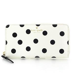 kate spade round fastener wallet PWRU4803 white black dot pattern S rank