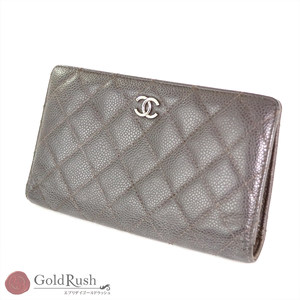 CHANEL Caviar Skin Folded Purse Brown