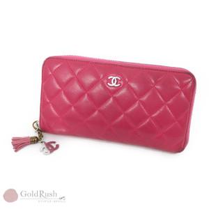 CHANEL Chanel Matrasse Round Fastener Purse Lambskin Pink