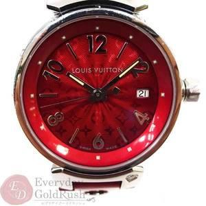 LOUIS VUITTON Tambour Q121T0 1P Diamond Patent Leather Belt Wine Red Quartz Ladies Wrist Watch kk el