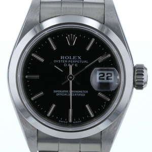 Rolex ROLEX Oyster Perpetual Date D 79160 Automatic Roll Black Ladies Watch pa mo