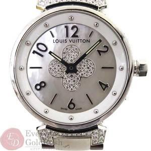 LOUIS VUITTON Tambour Forever Q121 P Shell Diamond Dial SS Quartz Ladies Wrist Watch kk el