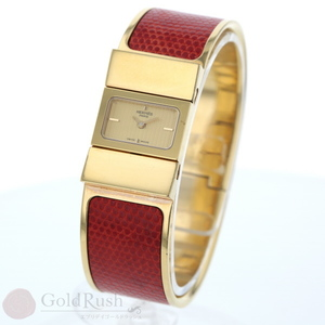 HERMES Hermes Roque Bangle Lizard Ladies Watch Gold Red pa mo