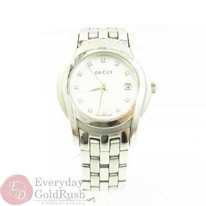 GUCCI 5500L 11P Diamond White Shell Dial Silver Stainless Steel Ladies Quartz Watch