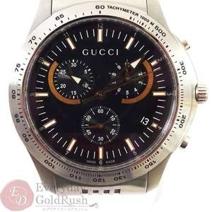 GUCCI 126.2 G Timeless Black Dial Chronograph Quartz SS Men's Watch
