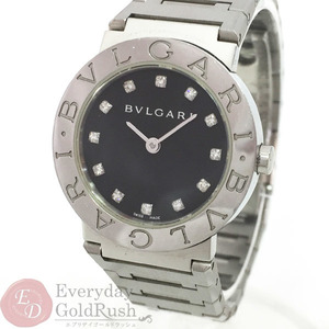 Bulgari BVLGARI 12P Diamond Ladies Quartz Watch Black Dial BB26SS