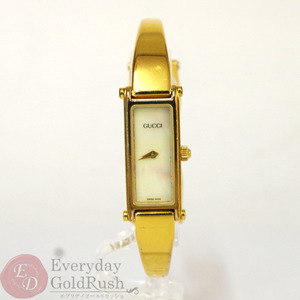 GUCCI 1500 Bangle Watch Gold Ladies Shell Dial Quartz